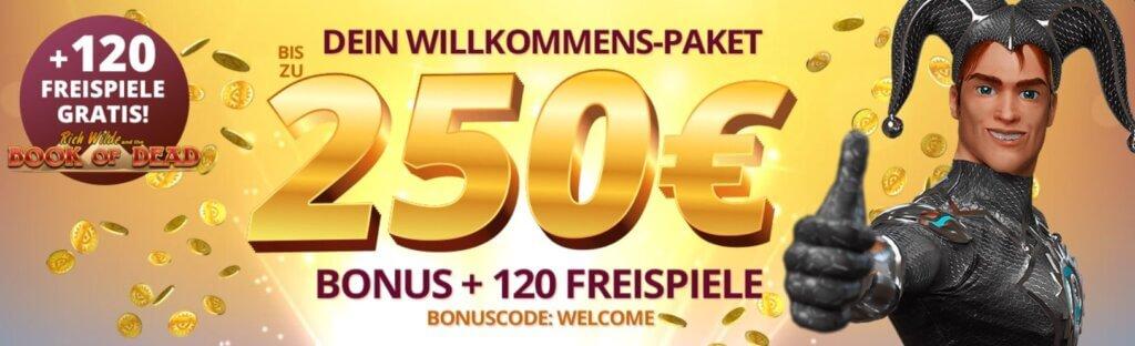 120 Freispiele mit dem Platin casino Willkommensbonus