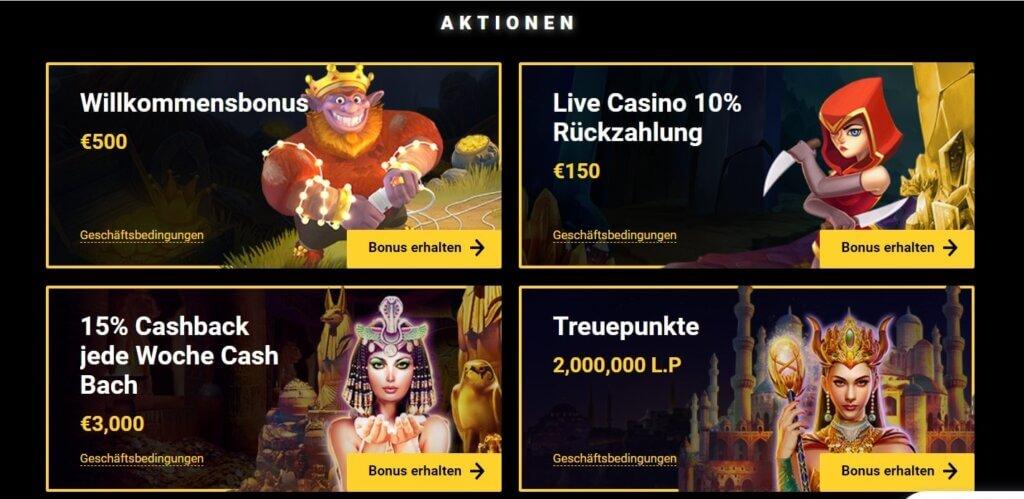Boni und Aktionen bei Zet Casino